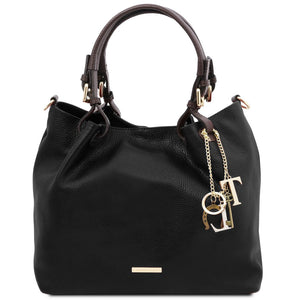 Front View Of The Black Soft Leather Shopper