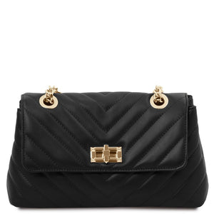 Front View Of The Black Soft Leather Handbag