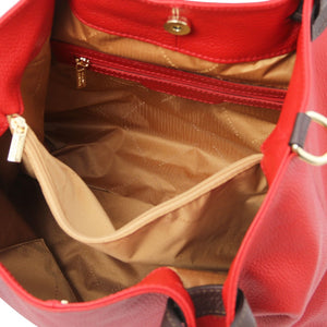 Internal Zip Pocket View Of The Lipstick Red Soft Leather Shopper