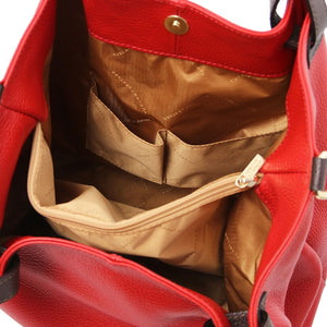 Internal Pocket View Of The Lipstick Red Soft Leather Shopper