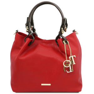 Front View Of The Lipstick Red Soft Leather Shopper