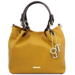 Front View Of The Mustard Soft Leather Shopper