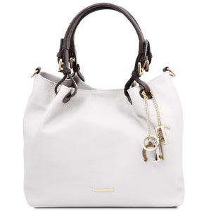 Front View Of The White Soft Leather Shopper