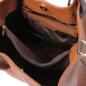 Internal Zip Pocket View Of The Cognac  Soft Leather Shopper