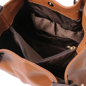 Internal Pocket View Of The Cognac Soft Leather Shopper