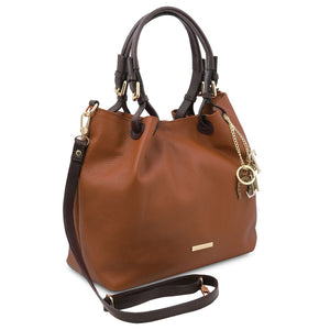 Angled And Shoulder Strap View Of The Cognac Soft Leather Shopper