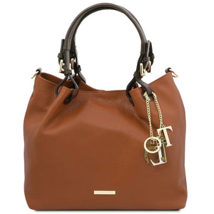 Front View Of The Cognac Soft Leather Shopper