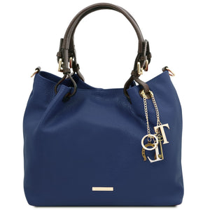 Front View Of The Dark Blue Soft Leather Shopper