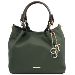 Front View Of The Forest Green Soft Leather Shopper