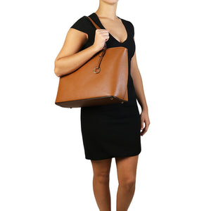 Women Posing With The Cognac Red Soft Leather Shopper Bag