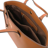 Internal Zip Pocket View Of The Cognac Soft Leather Shopper Bag
