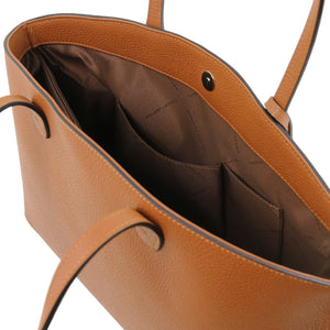 Internal Pockets View Of The Cognac Soft Leather Shopper Bag