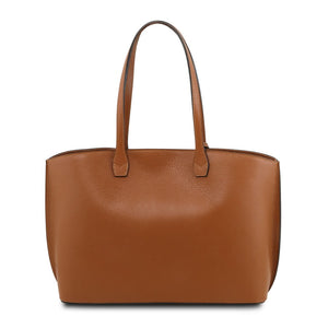 Rear View Of The Cognac Soft Leather Shopper Bag