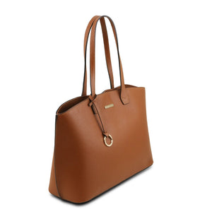 Angled View Of The Cognac Soft Leather Shopper Bag