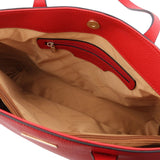 Internal Zip Pocket View Of The Lipstick Red Soft Leather Shopper Bag