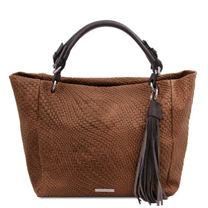 Front View Of The Cinnamon Soft Leather Shopping Bag