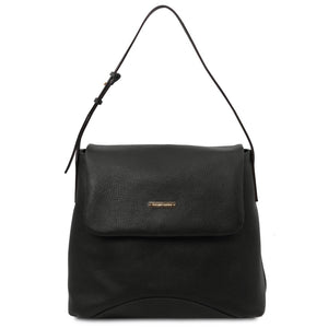 Front View Of The Black Soft Leather Slouch Bag