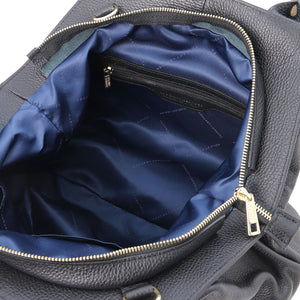 Internal Zip Pocket View Of The Black Soft Leather Shoulder Bag