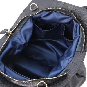 Internal Pockets View Of The Black Soft Leather Shoulder Bag
