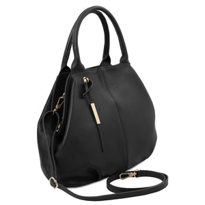 Angled And Shoulder Strap View Of The Black Soft Leather Shoulder Bag