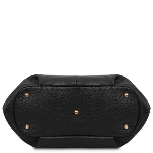 Underneath View Of The Black Soft Leather Shoulder Bag