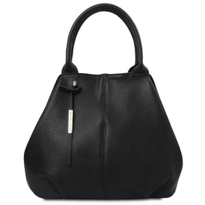 Front View Of The Black Soft Leather Shoulder Bag