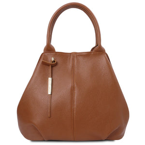 Front View Of The Cognac Soft Leather Shoulder Bag