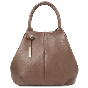 Front View Of The Dark Taupe Soft Leather Shoulder Bag
