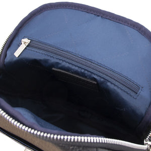 Internal Zip Pocket View Of The Black Womens Small Leather Backpack