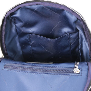 Internal Pocket View Of The Black Womens Small Leather Backpack