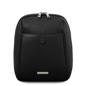 Opened Front Flap View Of The Black Womens Small Leather Backpack
