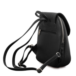 Rear Back Straps View Of The Black Womens Small Leather Backpack