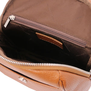 Internal Zip Pocket View Of The Cognac Womens Small Leather Backpack