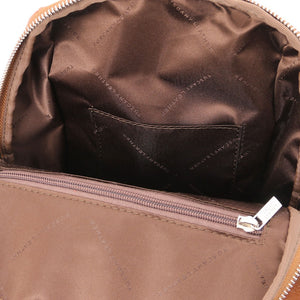 Internal Pocket View Of The Cognac Womens Small Leather Backpack