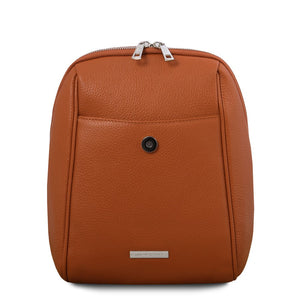 Opened Front Flap View Of The Cognac Womens Small Leather Backpack