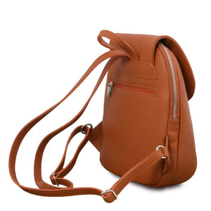 Rear Back Straps View Of The Cognac Womens Small Leather Backpack