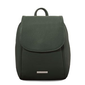 Front View Of The Forest Green Womens Small Leather Backpack