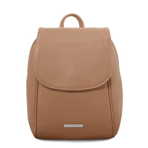 Front View Of The Champagne Womens Small Leather Backpack
