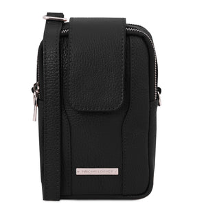 Front View Of The Black Mobile Phone Crossbody Bag