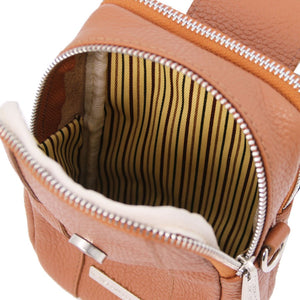 Front Zip Pocket View Of The Cognac Mobile Phone Crossbody Bag