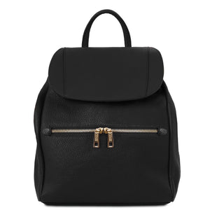 Front View Of The Black Soft Leather Backpack