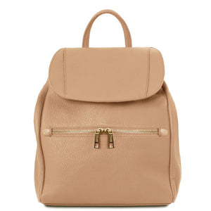 Front View Of The Champagne Soft Leather Backpack