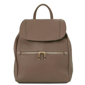 Front View Of The Dark Taupe Soft Leather Backpack