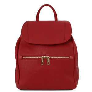 Front View Of The Red Soft Leather Backpack