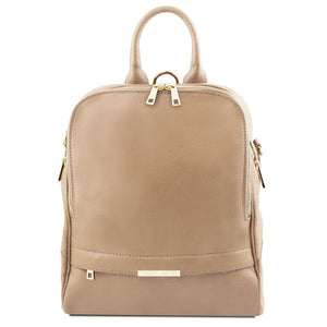 Front View Of The Light Taupe Womens Leather Backpack