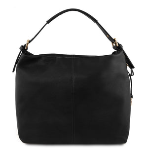 Front View Of The Black Soft Leather Hobo Shoulder Bag