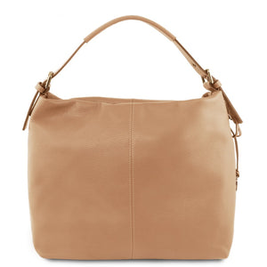Front View Of The Champagne Soft Leather Hobo Shoulder Bag
