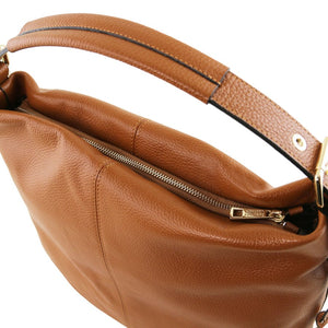 Handle And Zip Closure View Of The Red Soft Leather Hobo Shoulder Bag