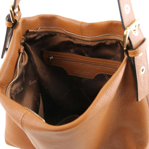 Internal Zip Pocket View Of The Red Soft Leather Hobo Shoulder Bag