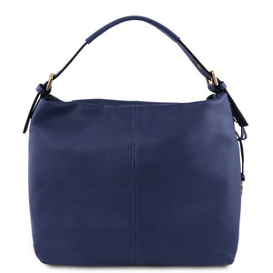 Front View Of The Dark Blue Soft Leather Hobo Shoulder Bag